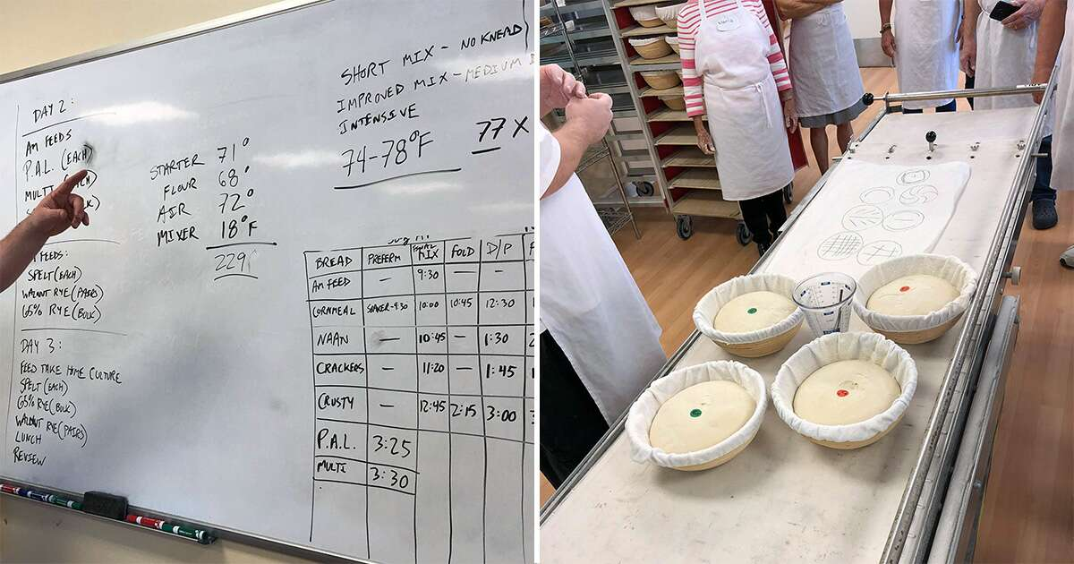 Baking math on a whiteboard and a lesson in bread scoring at the King Arthur Flour Baking School at the Bread Lab