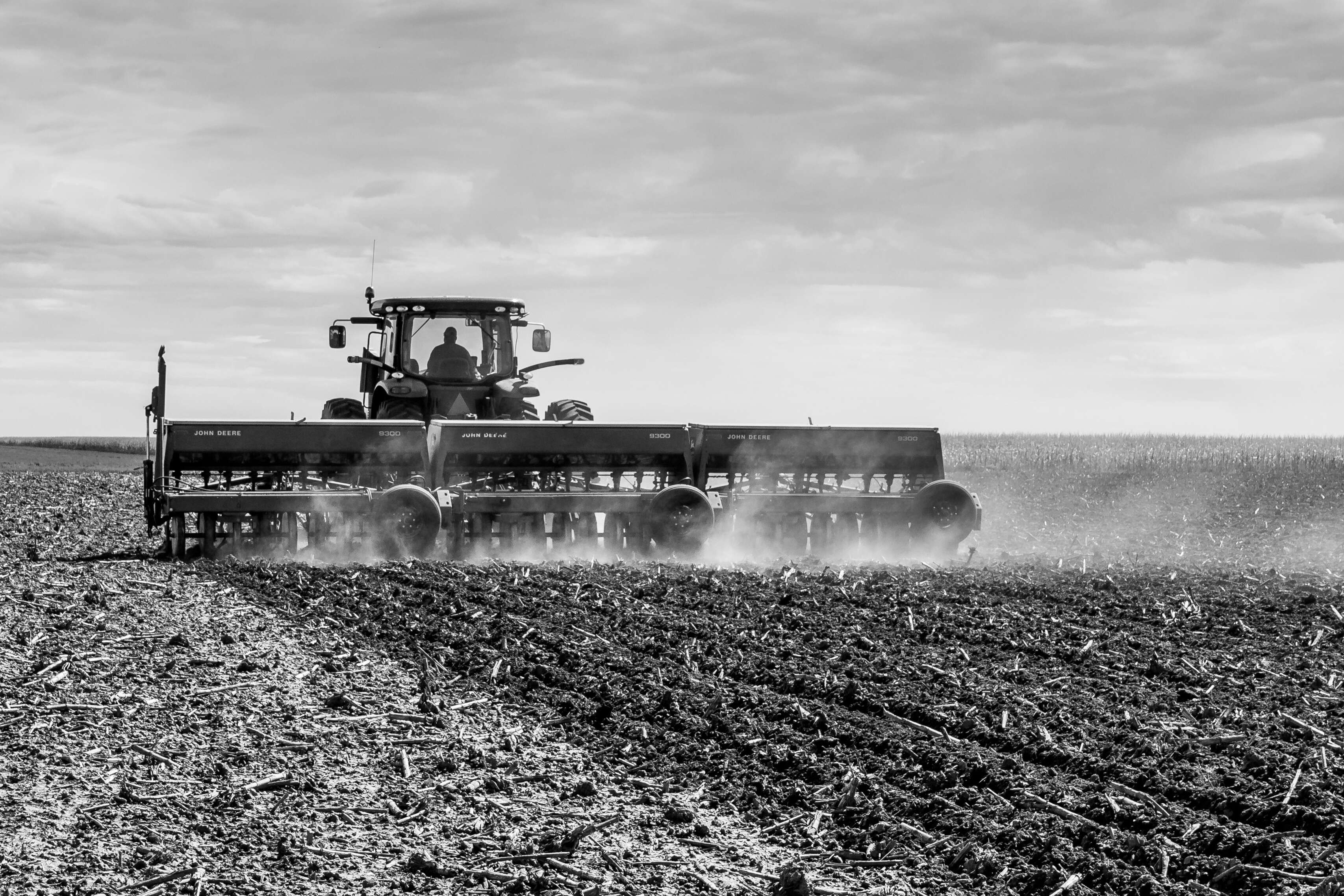 A farmer in Kansas working the field.