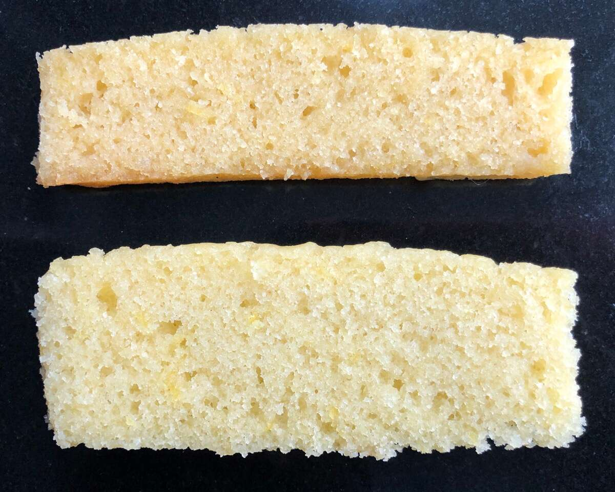 Two slices of cake, one made with Baking Sugar Alternative, one with regular cane sugar,  showing their relative rise