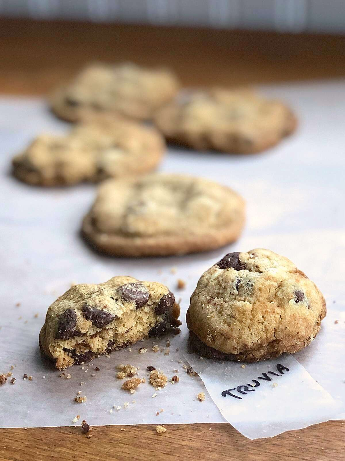Chocolate chip cookies baked with Truvia Cane Sugar Blend.