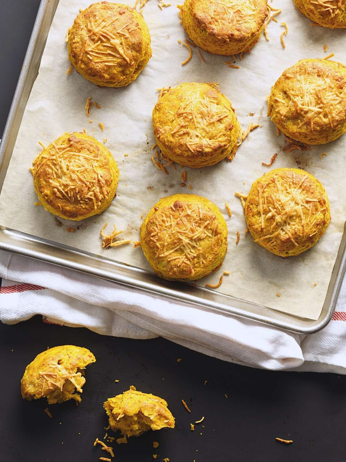 Pumpkin Cheddar Biscuits on a baking sheet