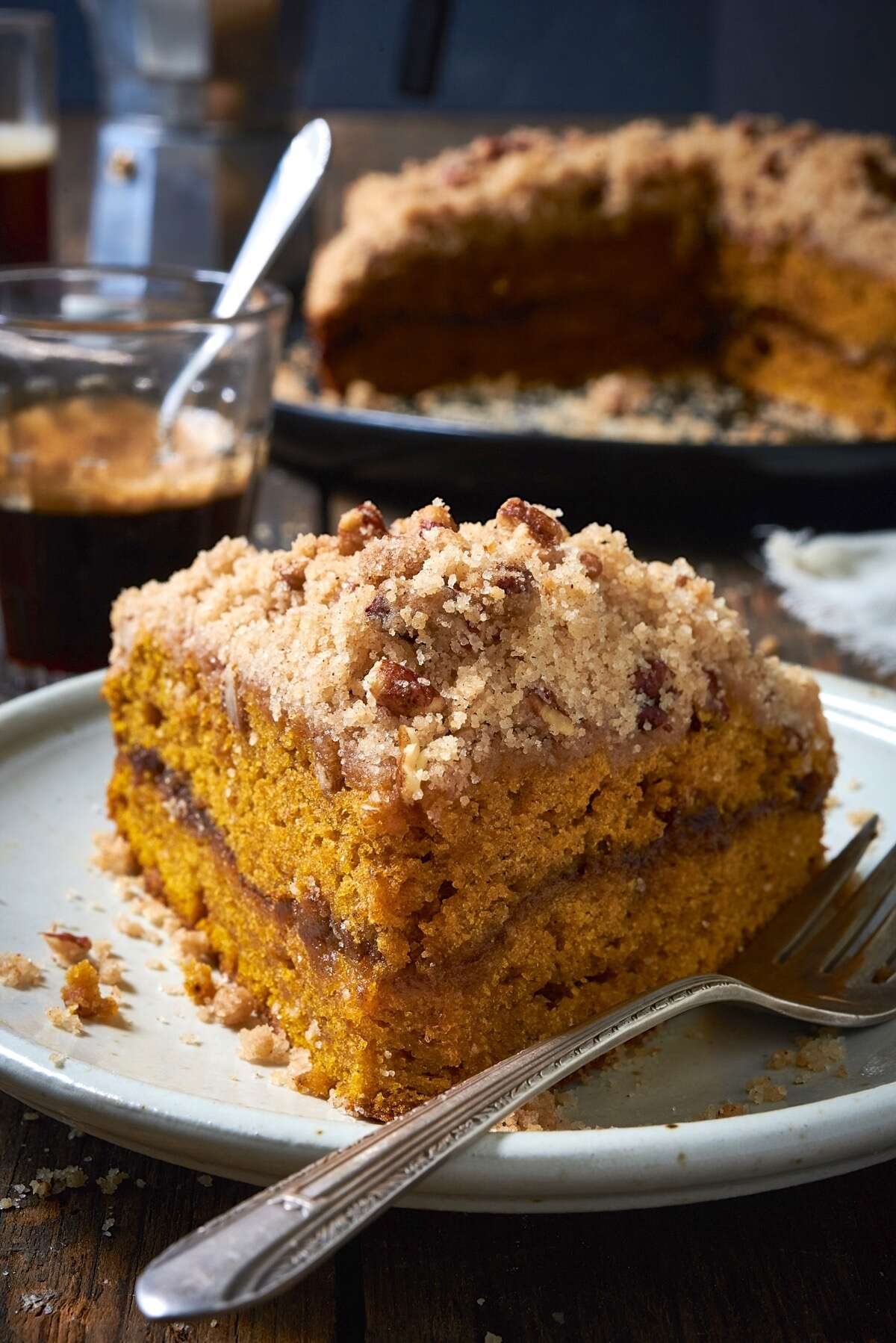 A square of pumpkin streusel coffeecake on a plate