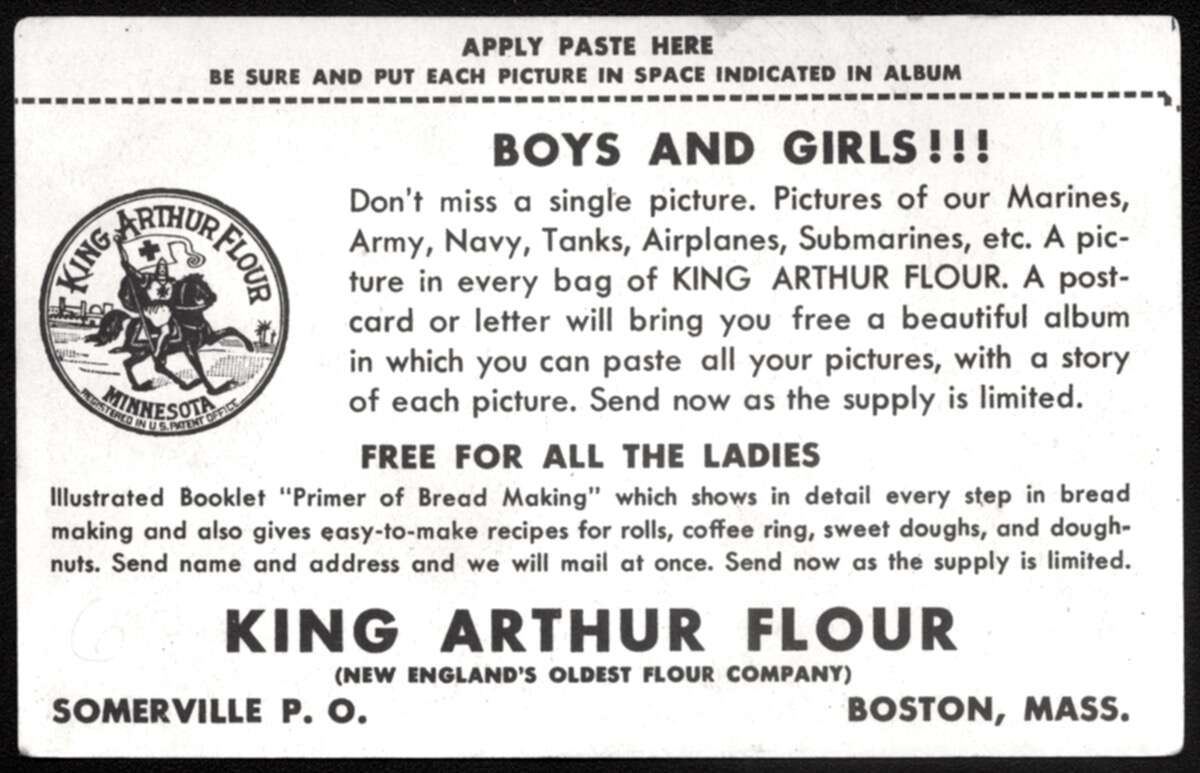 King Arthur Flour advertising card from World War II offering a free bread baking primer.