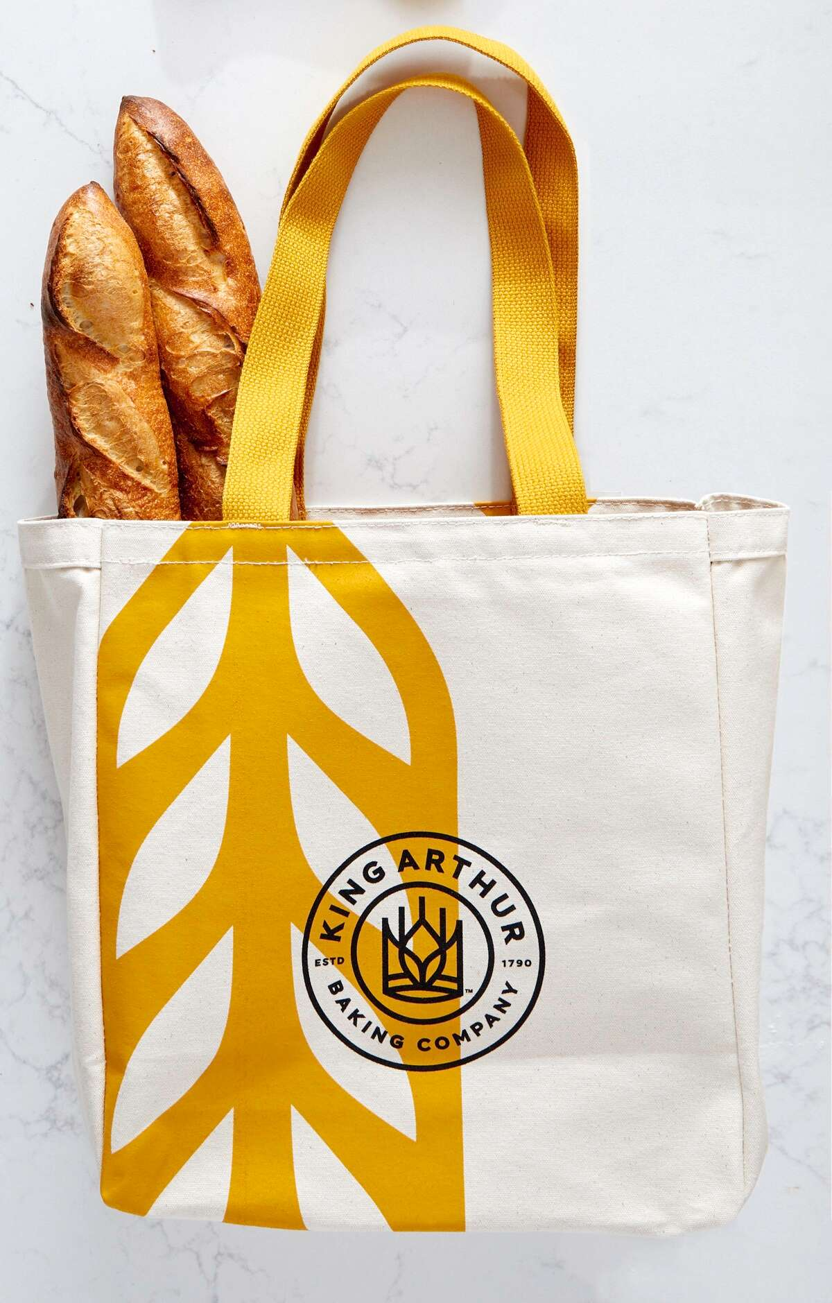 King Arthur Baking Company tote bag with two baguettes.