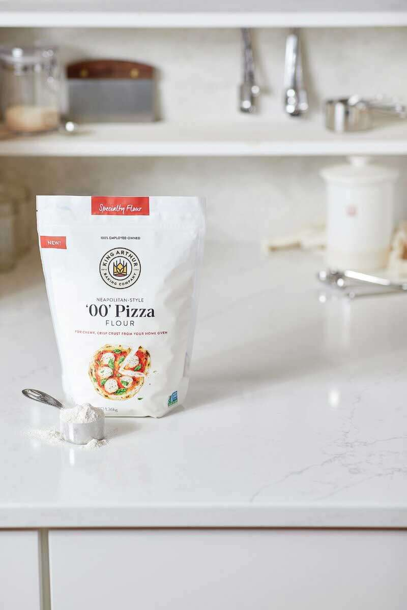 Bag of '00' Pizza Flour on the kitchen counter