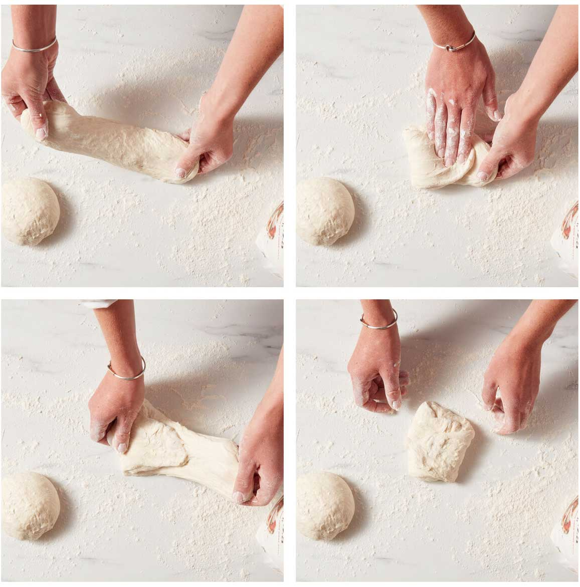 Four photos showing the dough being stretched and folded