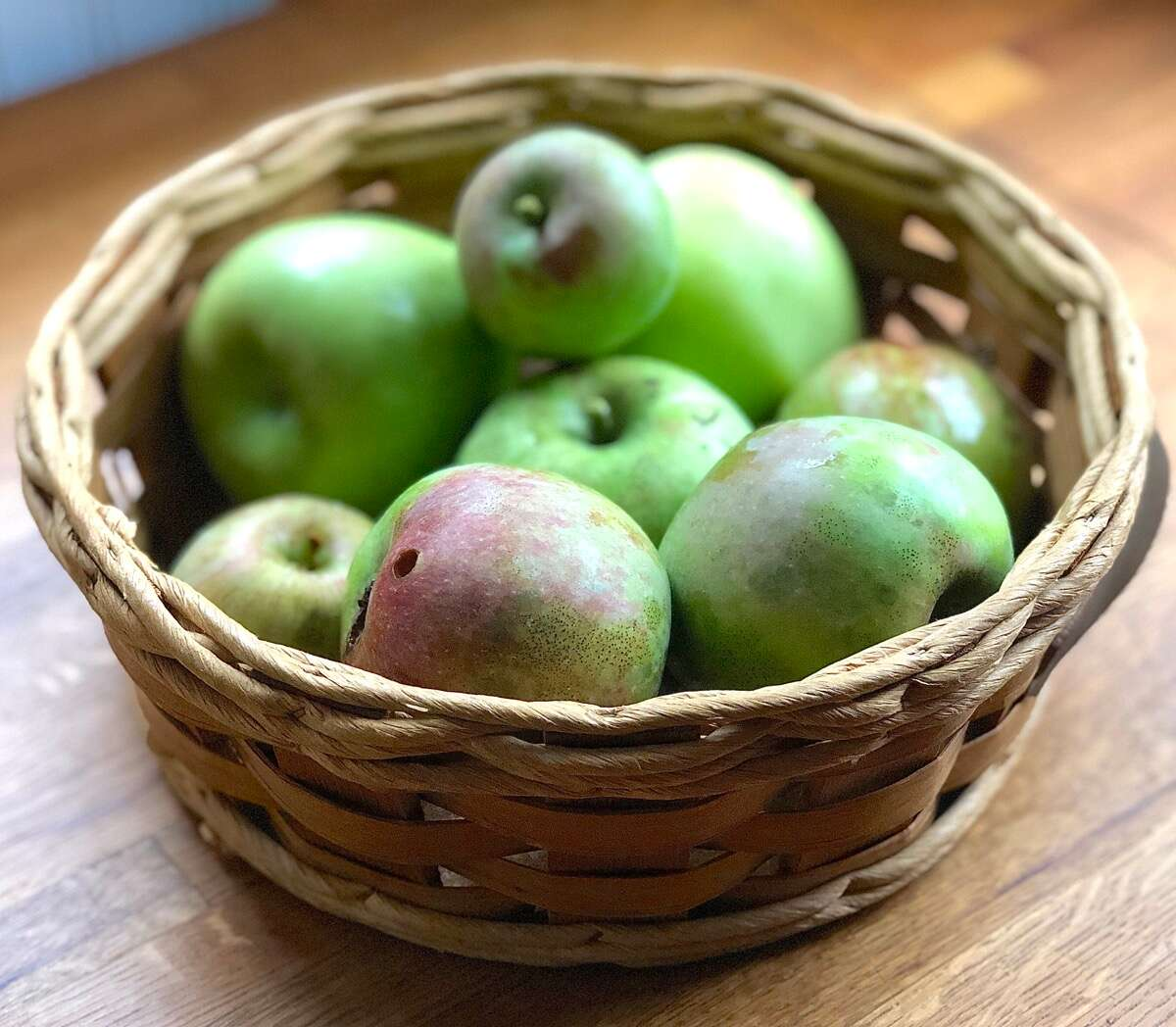 Just-picked apples in a basket.