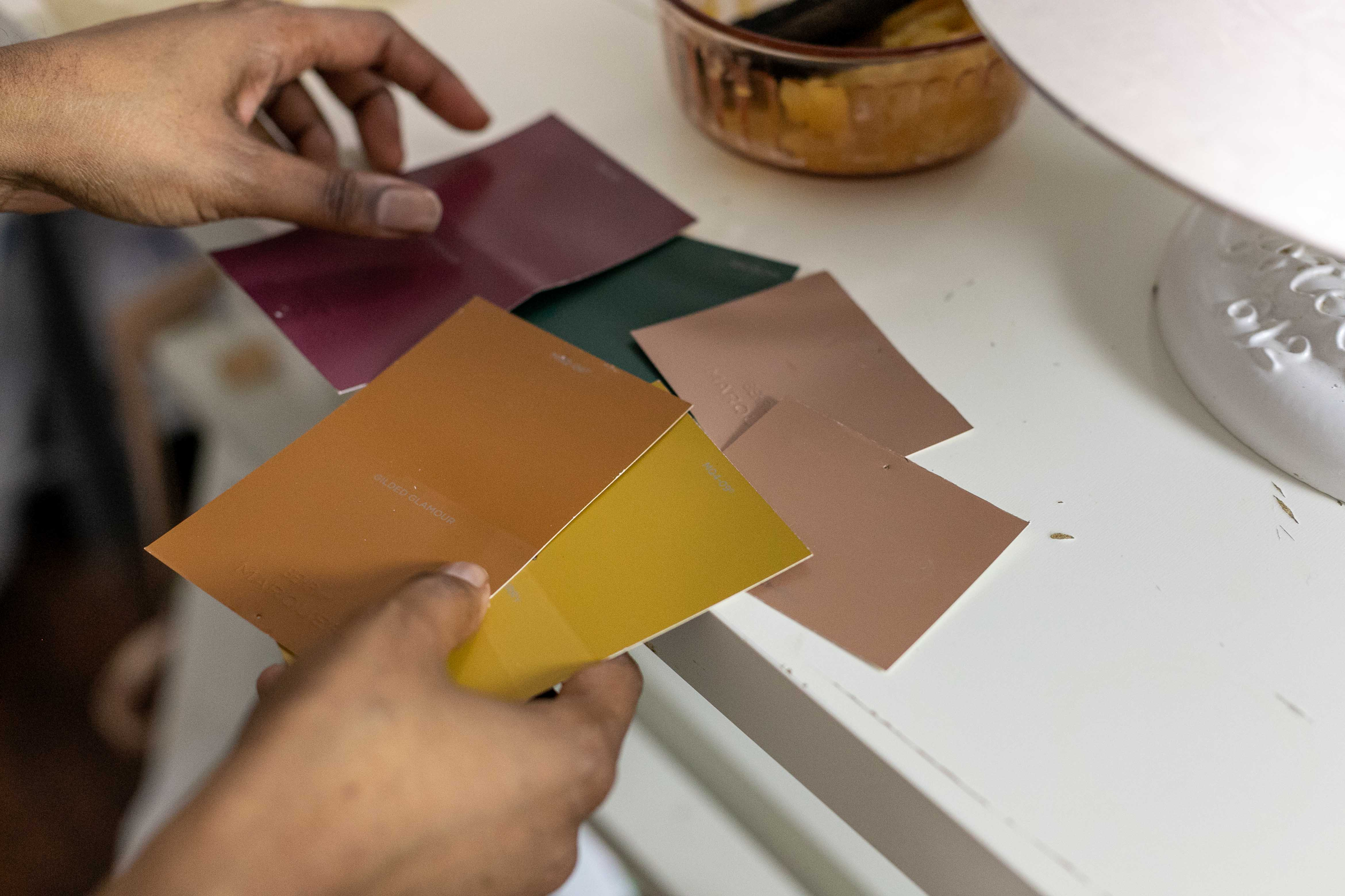 Selecting color swatches from paint store