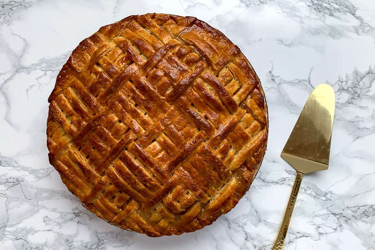 Baked apple pie with quilt design