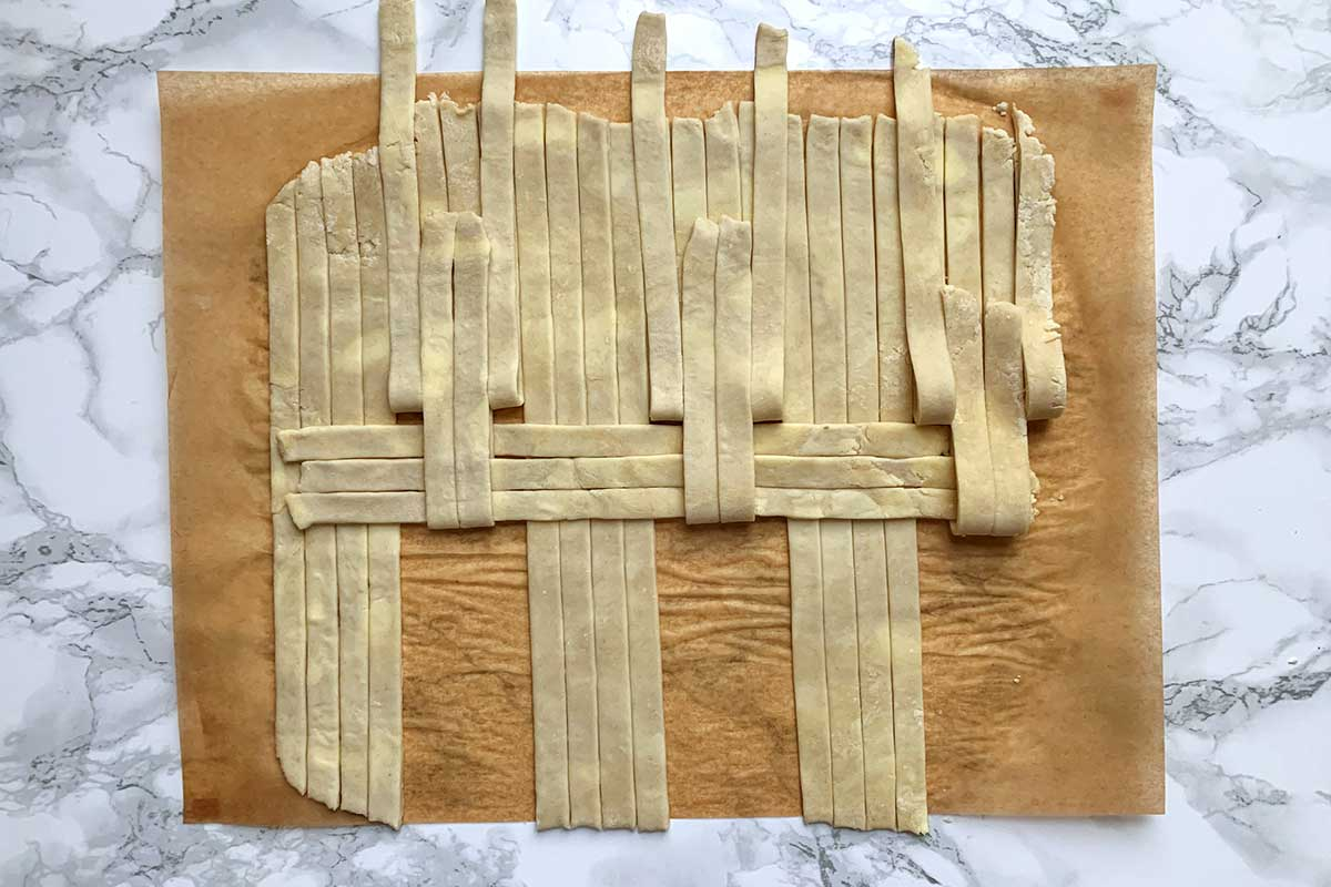 Same dough as previous image, with unfolded vertical strips folded back over two horizontal strips