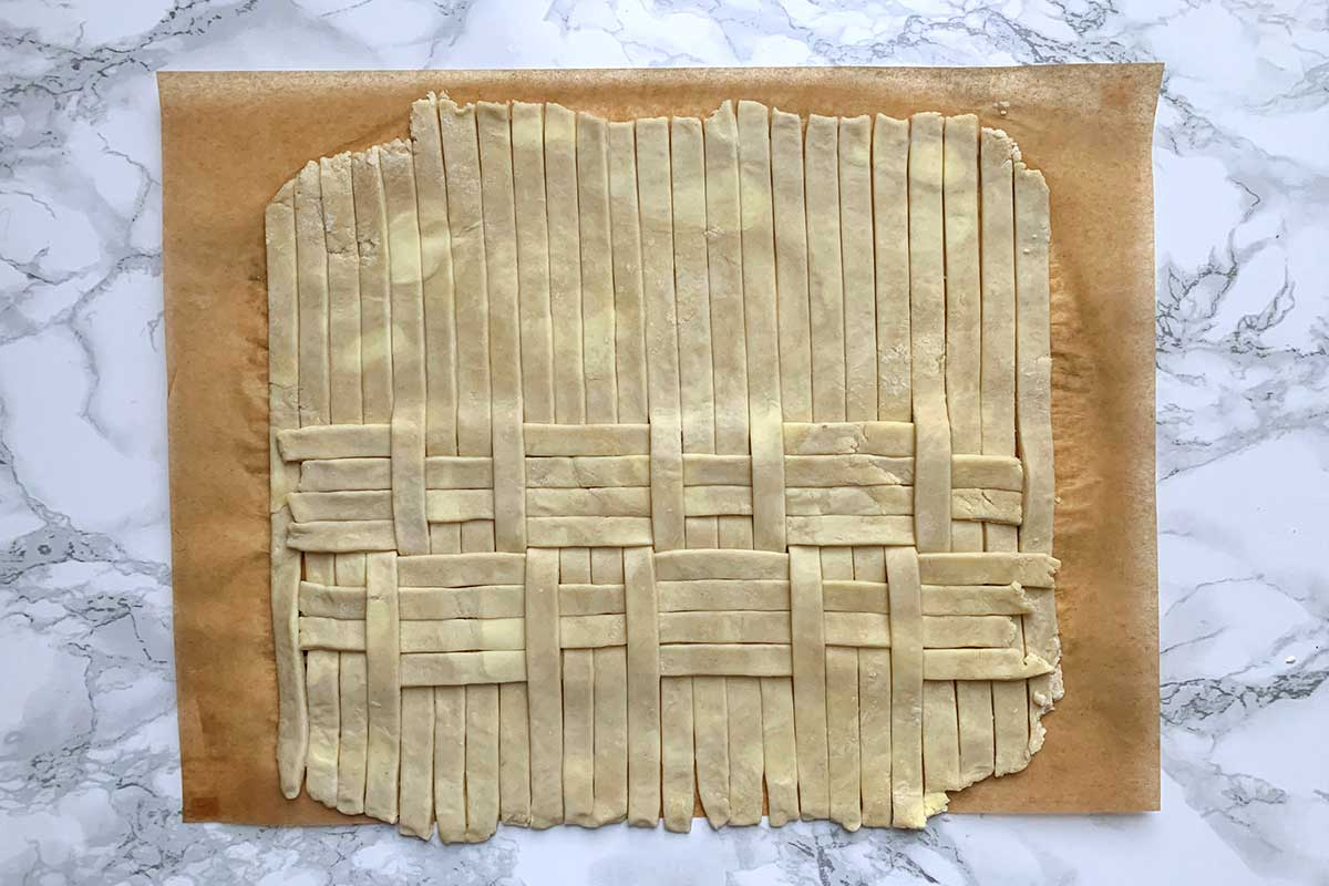 Same dough as previous image, with all vertical sheets unfolded