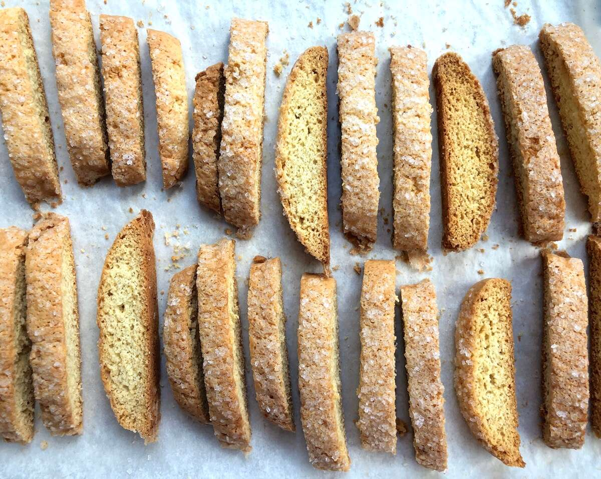 Biscotti cooling on a baking sheet