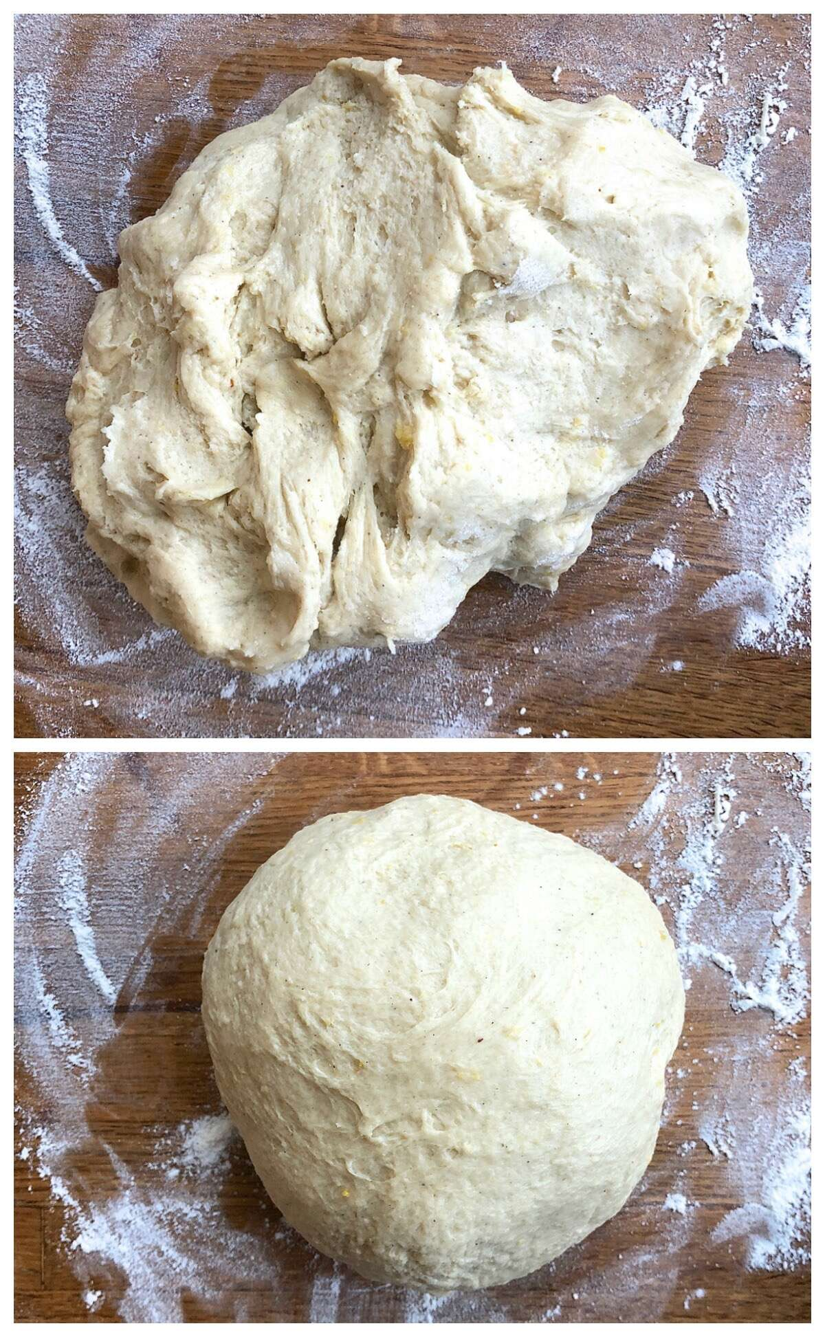 Two pictures: Stollen dough mixed together, still rough; and fully kneaded stollen dough in a smooth ball.