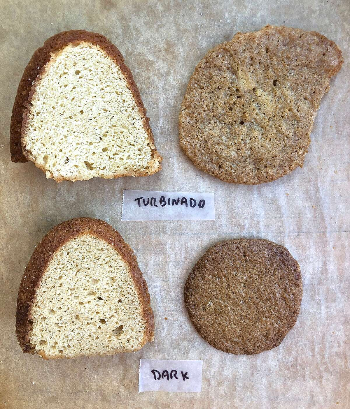 Slice of pound cake and a cookie made with turbinado sugar, vs. made with dark brown sugar, to show the differences.