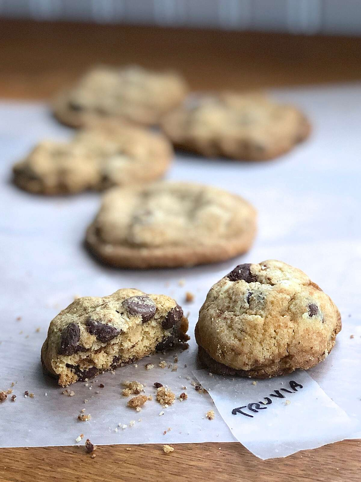 Chocolate chip cookies baked with Truvia, showing their thick texture and crumbliness.