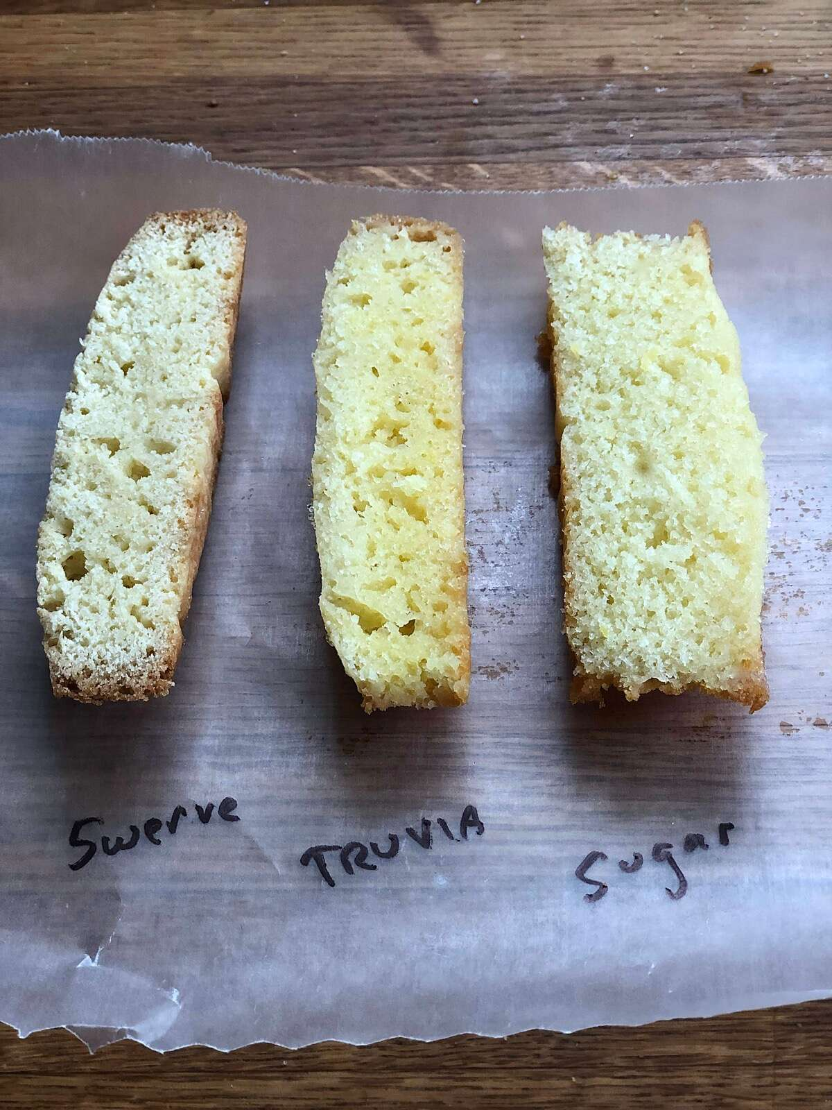 Three slices of cake baked with three different sweeteners, showing difference in rise and interior texture.