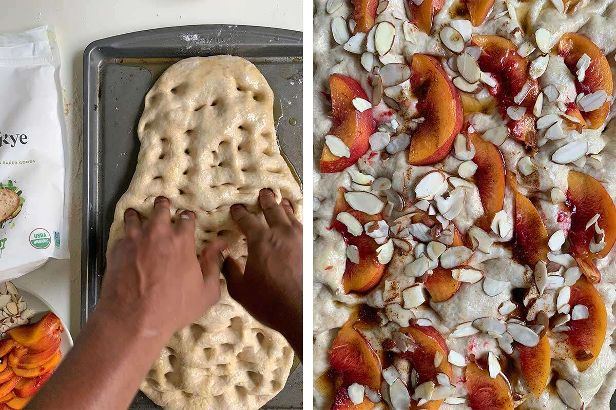 Bryan's hand dimpling the dough next to a photo of the unbaked focaccia