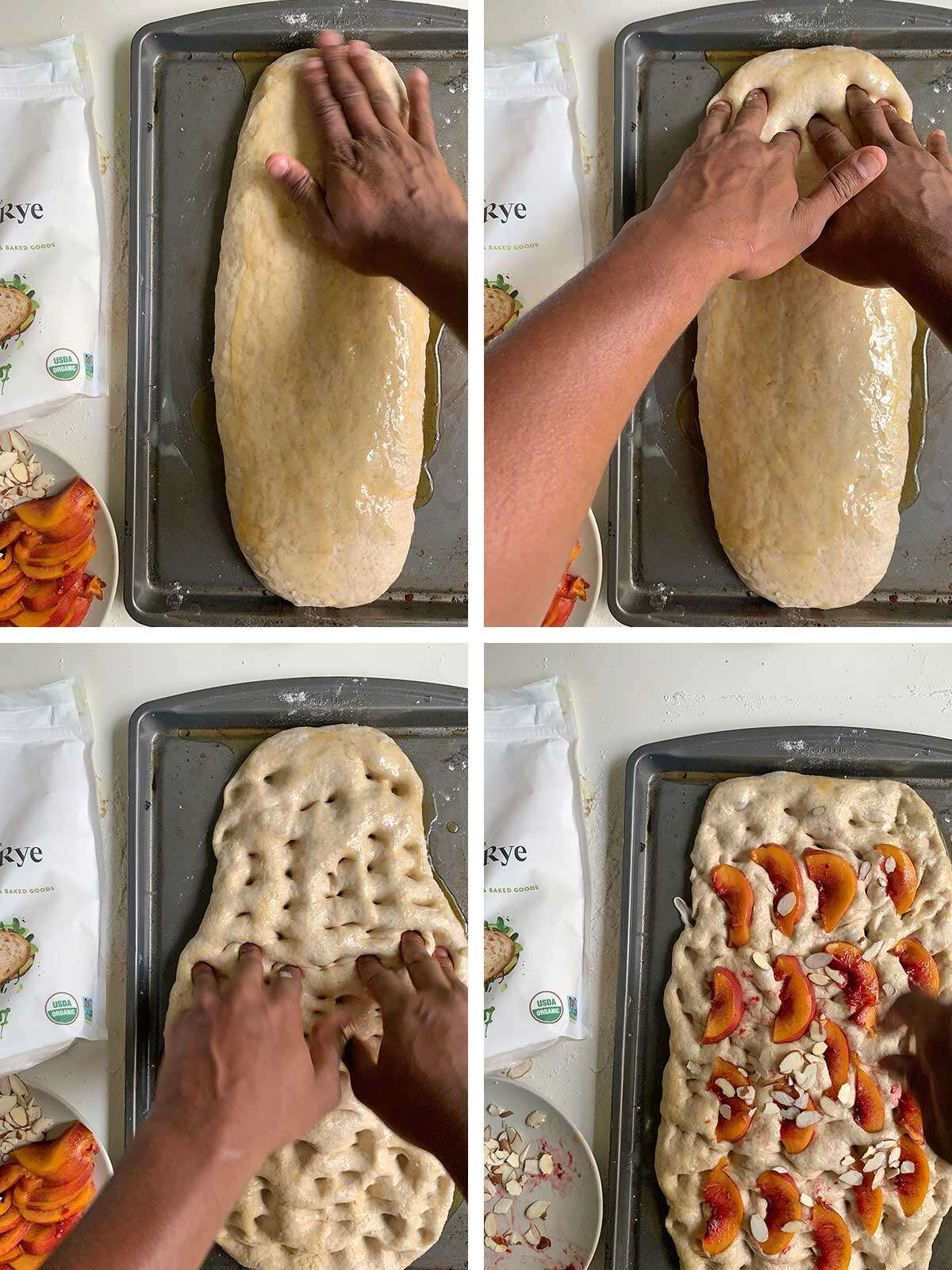Four photos showing hands dimpling then topping the focaccia dough