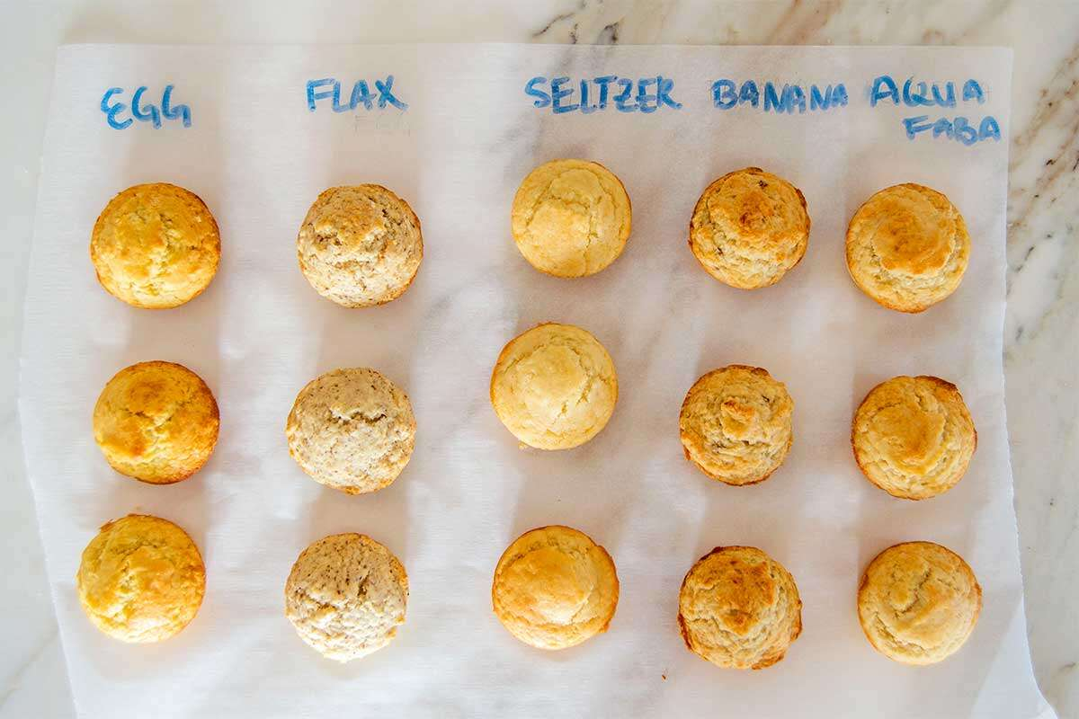 Muffins made with different egg substitutions
