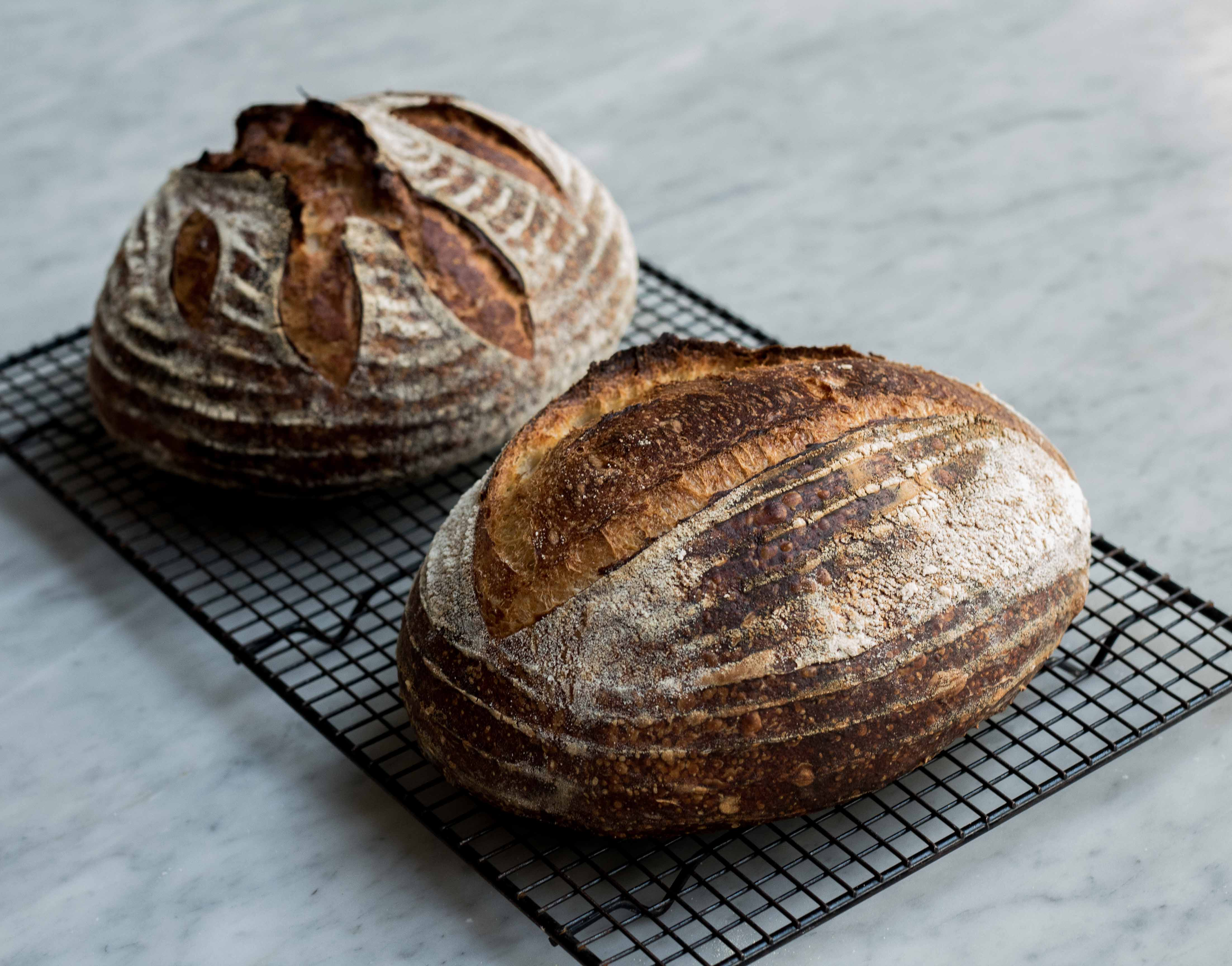 Two loaves of bread, baked by Maura Brickman