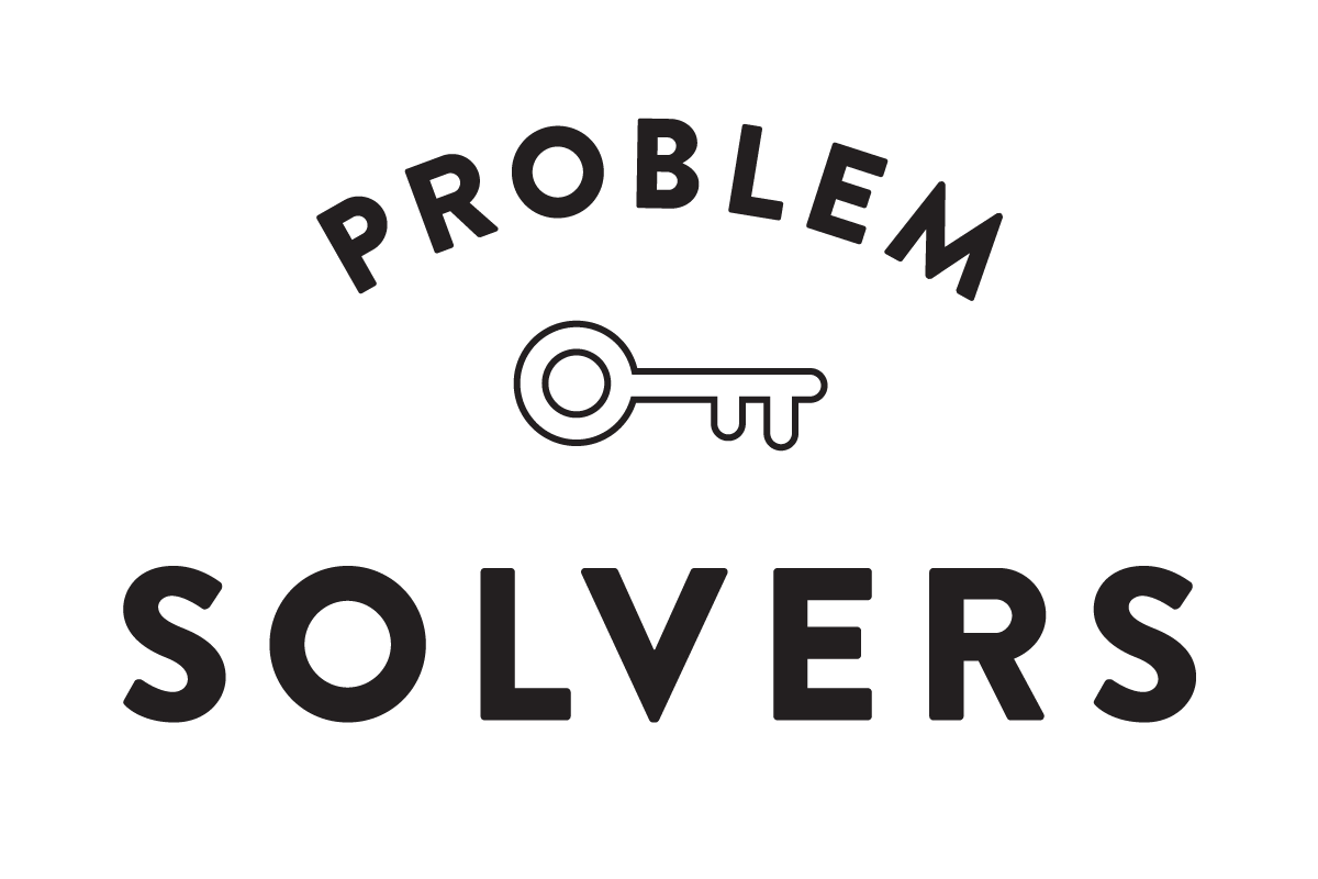 "Text reading ""Problem Solvers"" with key graphic"