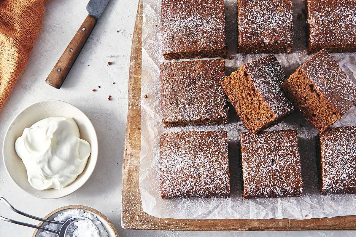 Rye Gingerbread cut into squares and dusted with powdered sugar