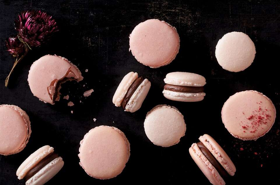 Pink macarons with chocolate filling