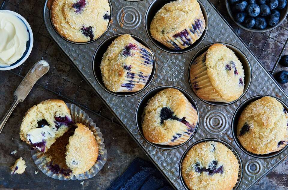 Gluten-Free Blueberry Muffins made with baking mix