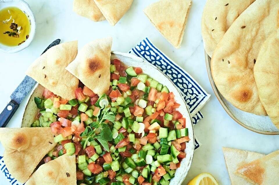 Whole Wheat Pita with Middle Eastern Salad