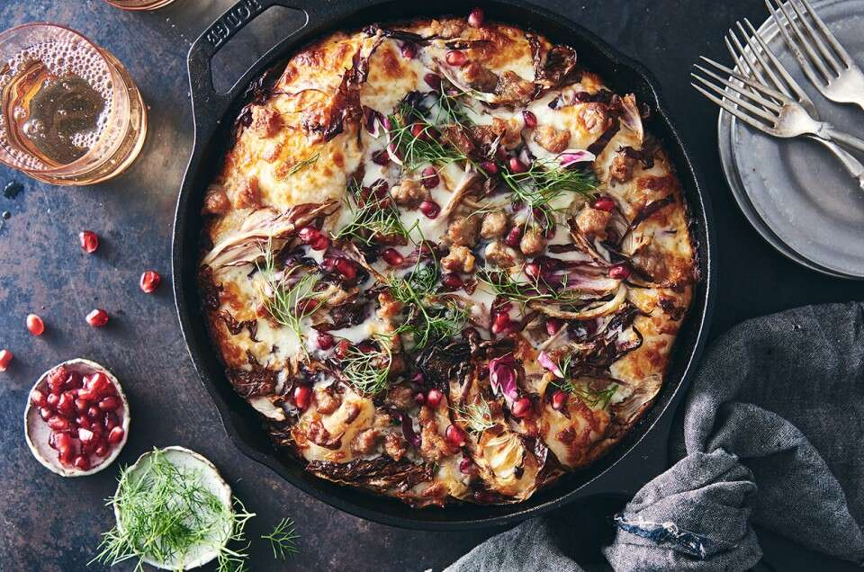 Crispy Cheese Pan Pizza topped with Sausage, Fennel & Radicchio - select to zoom