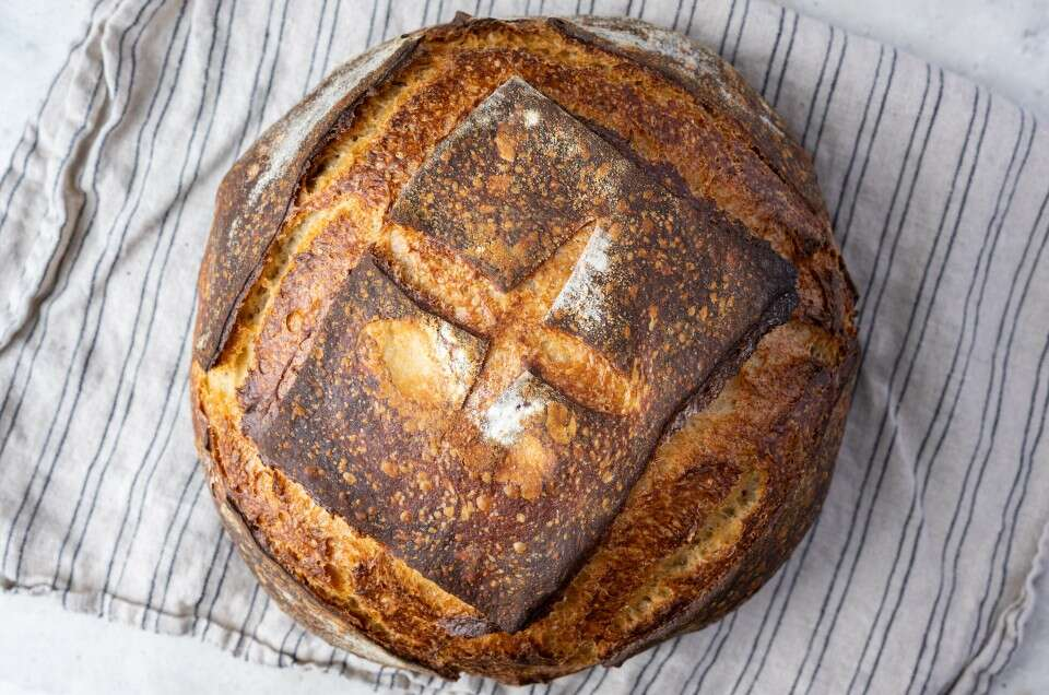 A no-knead sourdough boule