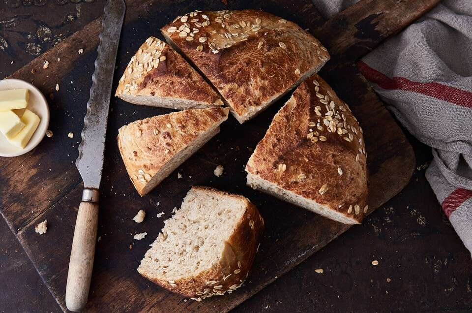 No-Knead Oat Bread - select to zoom