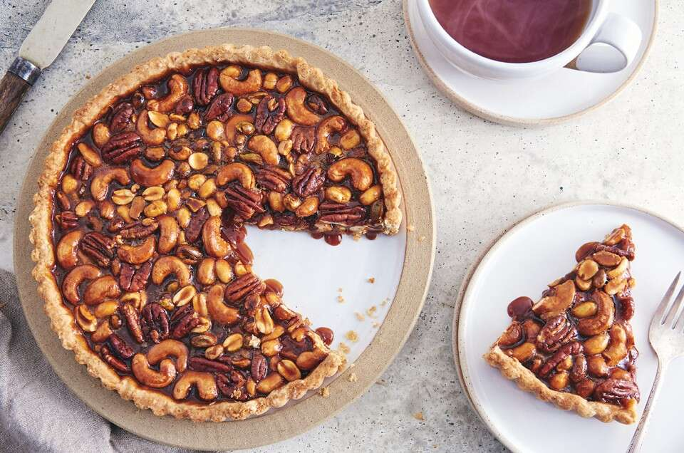 Salted Caramel Nut Tart with Rye Crust