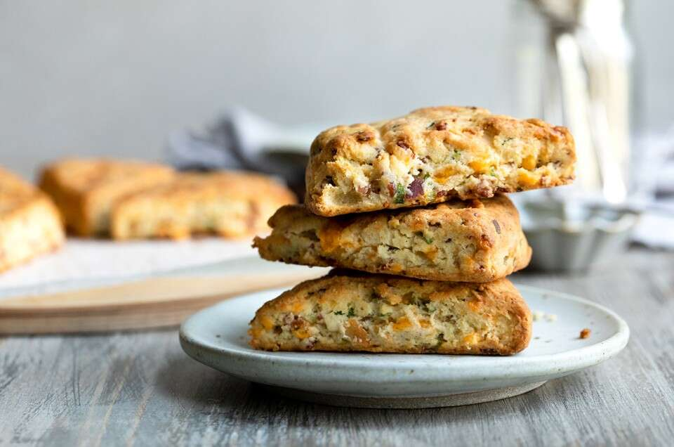 Gluten-Free Bacon-Cheddar-Chive Scones - select to zoom