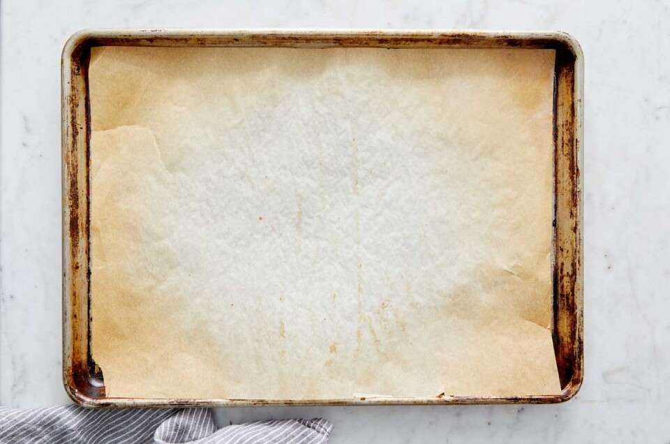 Parchment paper on half baking sheet