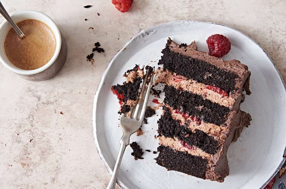 Gluten-Free Chocolate Mousse Cake with Raspberries - select to zoom