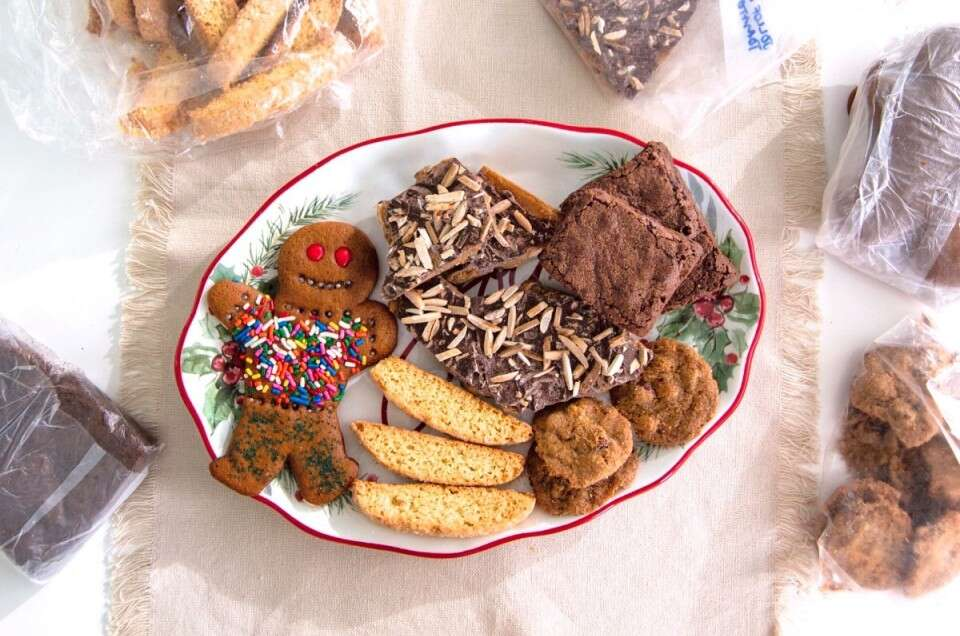 Holiday cookies on a serving plate