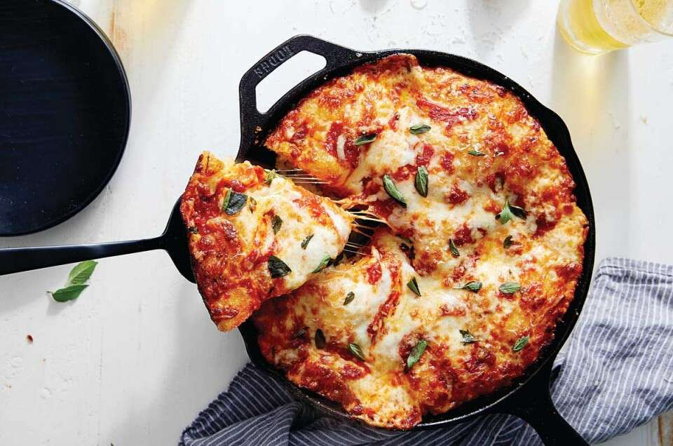 Pizza in cast iron pan