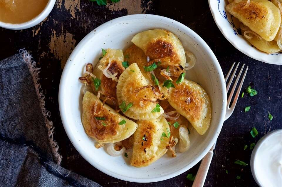 Pierogi and fried onions