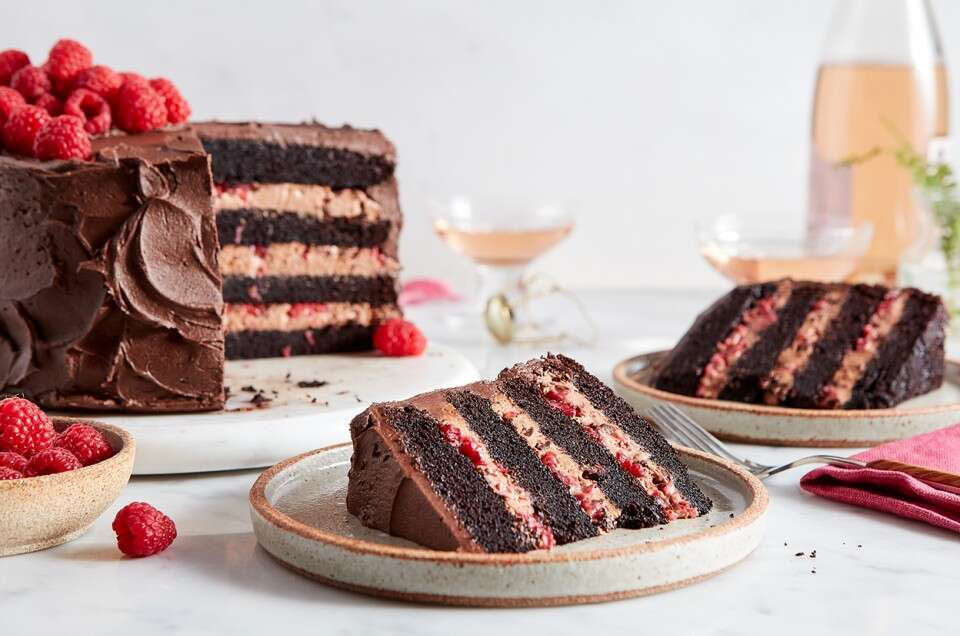 Chocolate Mousse Cake with Raspberries - select to zoom