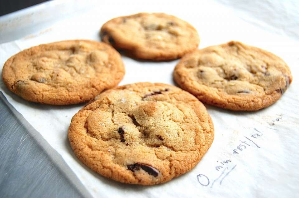 Chocolate chip cookie test-1 via @kingarthurflour