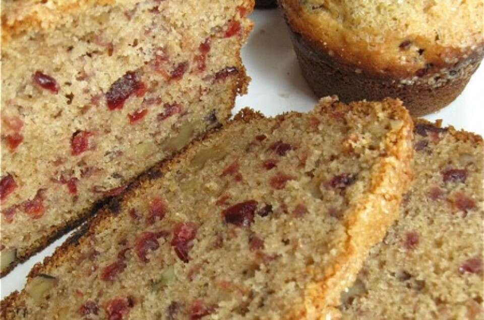 cranberry-walnut bread and muffins