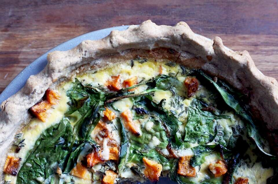 Teff flour quiche via @kingarthurflour