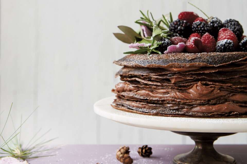 chocolate crepe cake via@kingarthurflour