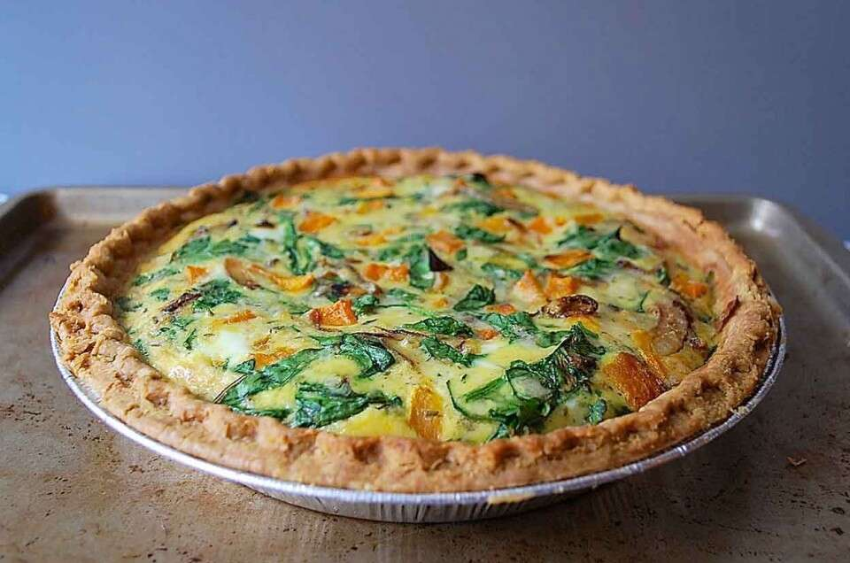 Roasted Butternut Squash & Spinach Quiche