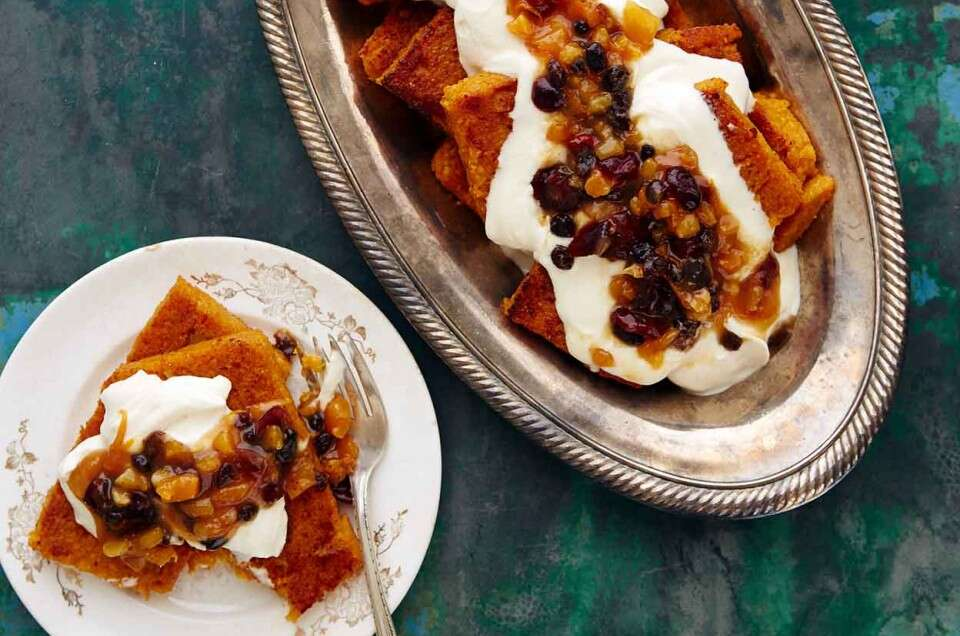Pumpkin-Ginger Polenta with Stewed Fruit and Mascarpone Cream