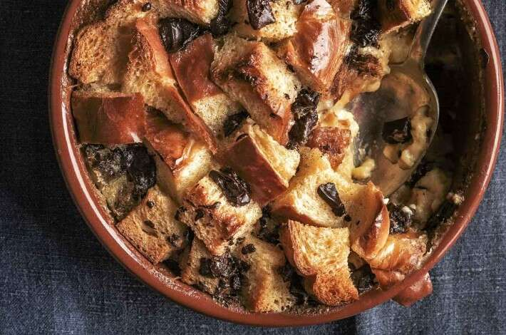 Vanilla Bread Pudding with Prunes and Chocolate