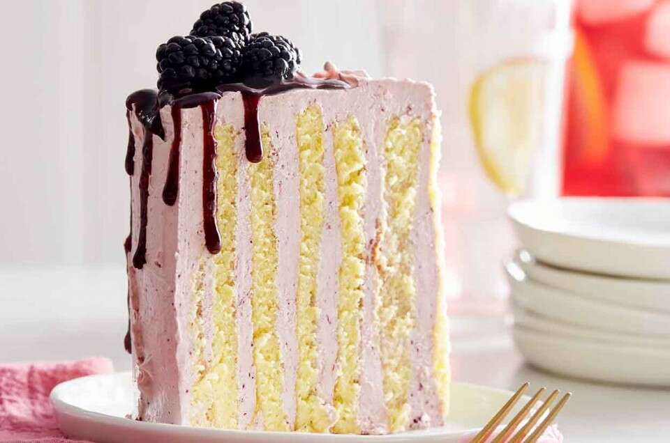 Lemon and Black Currant Stripe Cake