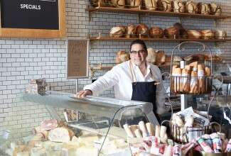 Mediterra owner Nick Ambeliotis behind the bakery counter