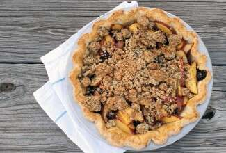 Nectarine, Blueberry & Vanilla Bean Pie with Poppy Seed Crumble